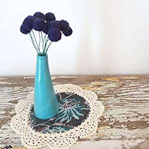 Dark Purple Pom Pom Flowers. Felt Flower Bouquet. Small Centerpiece. Forget me not. Purple floral arrangement. Nursery Flowers. Atomic 66