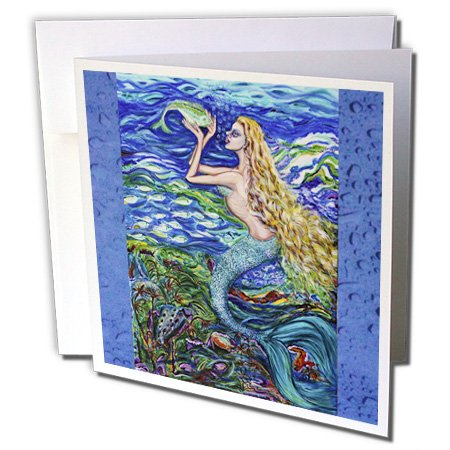 Mermaid Stationery (3dRose This is my tropical mermaid caring for her pet fish. Beautiful dream peaceful atmosphere - Greeting Cards, 6 x 6 inches, set of 6 (gc_54922_1))