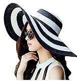 #8: Oryer Womens Striped Straw Sun Hat Big Floppy Hat Foldable Roll up Big Brim Hats
