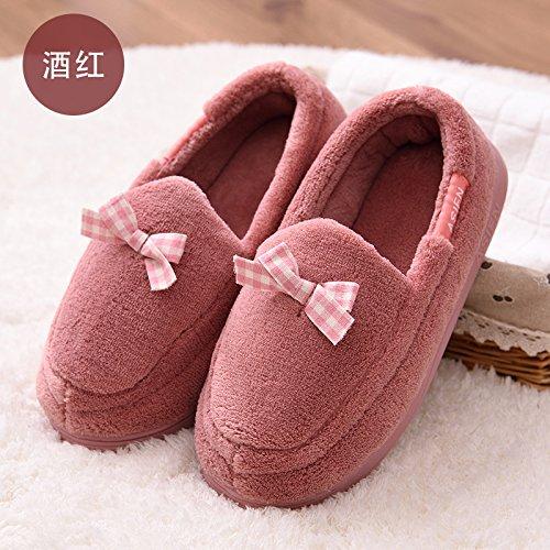 Y-Hui Antiskid Estate pantofole con suole morbido cotone e pantofole in primavera e in autunno,41-42 (Fit per 40-41 piedi),vino rosso
