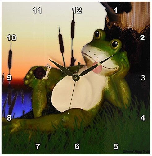 3dRose dpp_28288_1 The Frog and The Snail-Wall Clock, 10 by 10-Inch (Frog Desk Clock)