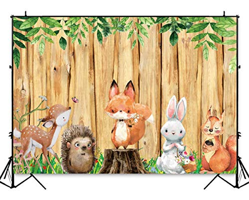Funnytree 7x5ft Woodland Animals Backdrops Rustic Yellow Wood Fence Jungle Safari Photography Background for Child Kids Birthday Party Banner Baby Shower Decoration Props -