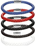 LOLIAS 5 Pcs 6MM Leather Bracelets for Men Women Braided Rope Bracelets Magnetic Clasp 7.5 In