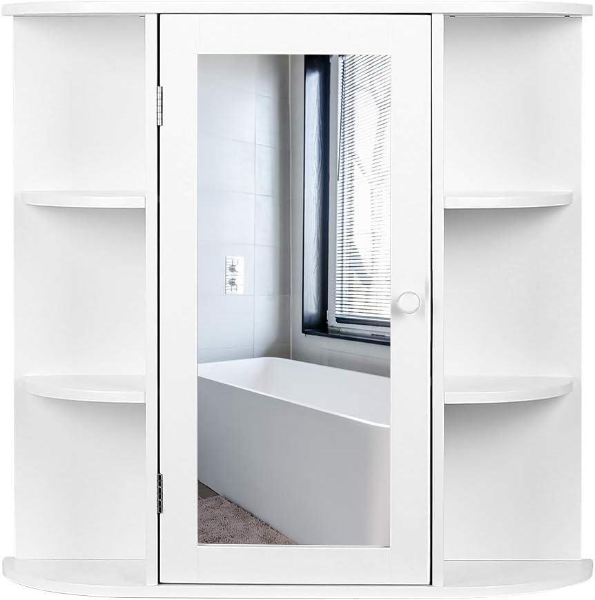 MUPAI Armario de Baño con Espejo,Mueble Espejo para Baño de Pared ...