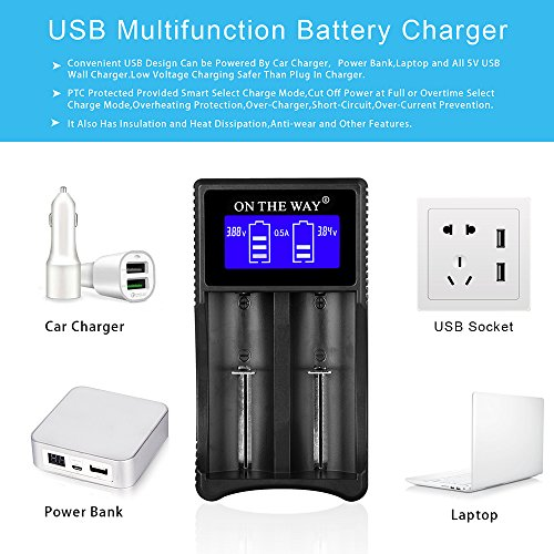 Universal Battery Charger,LCD Display IC Protection Smart Intelligent Battery Charger for Rechargeable Li-ion Batteries 18650 16340(RCR123) 14500 18350 26650 CR123A,Ni-MH/Ni-Cd AA AAA C Batteries