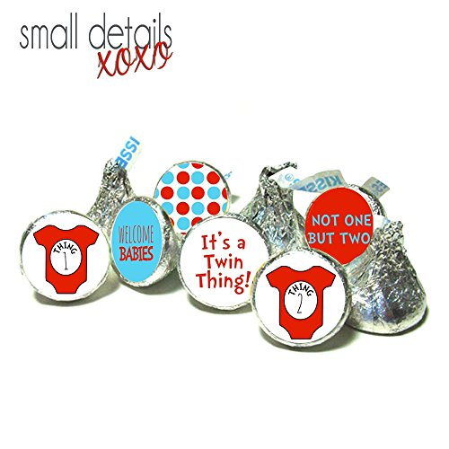 TWIN THING! Baby Shower kiss stickers - Dr. Seuss inspired kiss stickers ~ for Hershey's Kisses Chocolate - It's Twins! (108 peel&stick (Twin Baby Shower)