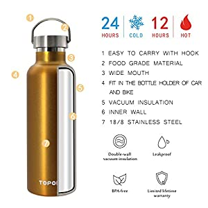 Top Quality Non-Rusty Stainless Steel Vacuum Water Bottle Double Wall Insulated Thermos for hike Travel,Leak Proof BPA free Sports Bottle,Keep Hot or Cold More Than 12H-Metal Lid-25 Oz-Gold