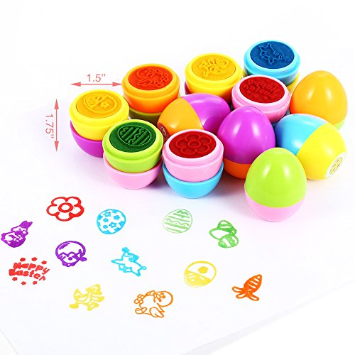 Meiyiu 12Pcs Children Kid Creative Colorful Happy Easter Egg Stamper Toy Set for Party Game Gift by Meiyiu