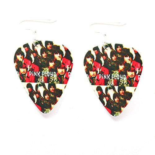 Pink Floyd Earrings Red Black Guitar Pick Classic Rock and Roll ()