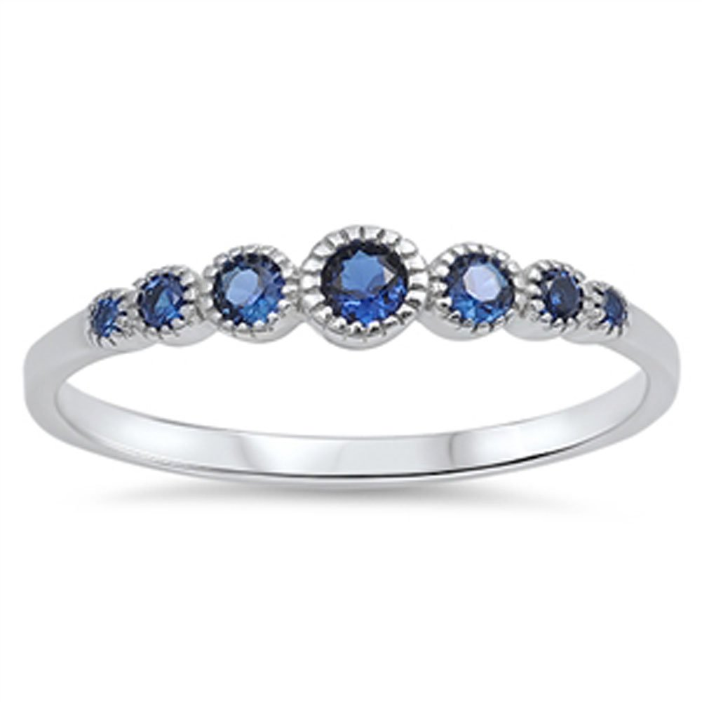 Women's Round Blue Simulated Sapphire Cute Ring New 925 Sterling Silver Band Size 13