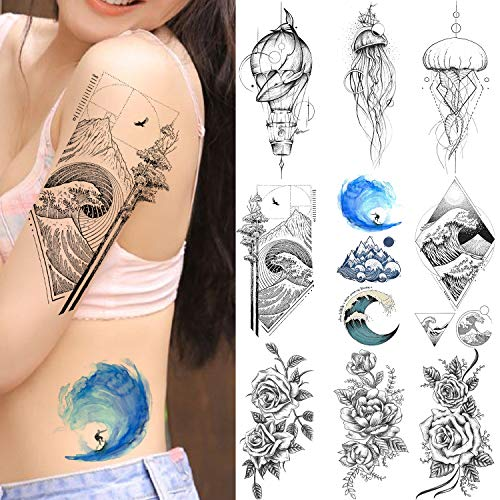 VANTATY 9 Sheets Sea Waves Surfing Temporary Tattoos For Women Kids Waterproof Fake Body Art Arm Jellyfish Whale Peony Flower Tattoo Stickers For Girls Lady Wrist Drawing Tatoo Paste (Best Wrist Tattoos For Girl)