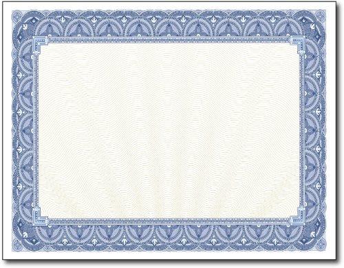 28lb Blue Border Certificates 100