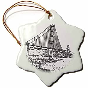 Sandy Mertens Golden Gate Bridge San Francisco Line Art Snowflake Porcelain Ornament, 3-Inch