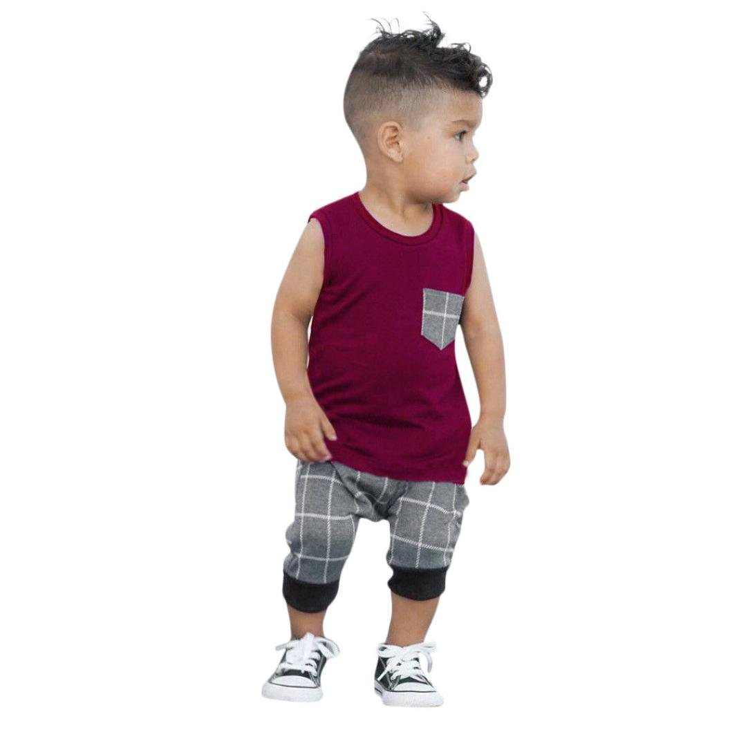 Staron Baby Boys Clothes Summer Casual Plaid Pocket Vest Tops+Shorts Outfits Set