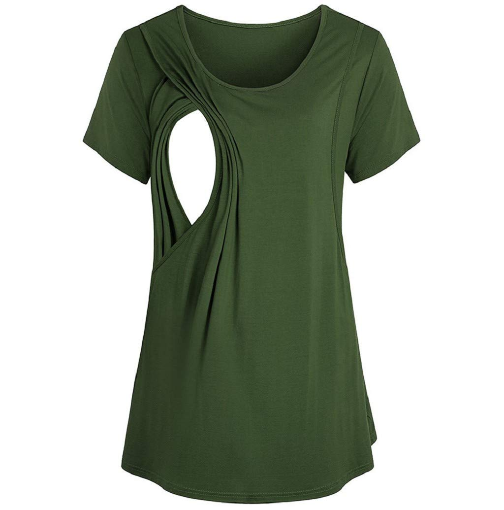 Women's T-Shirt, JHKUNO Fit Tee Short Sleeve Maternity Nursing Solid Blouse Pregnant Loose Tunic Top Green