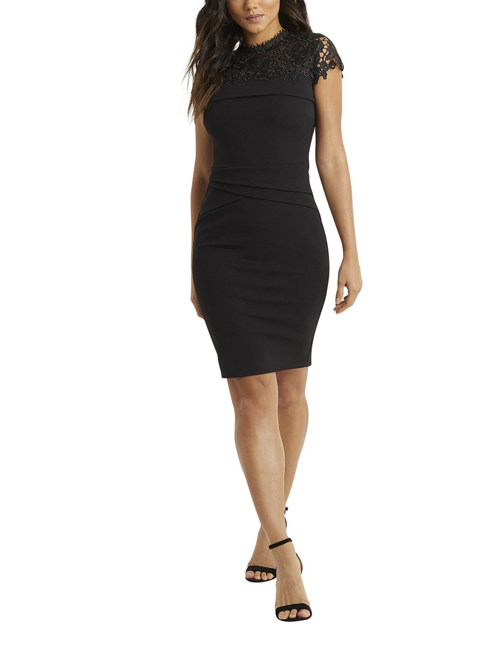 LIPSY Womens Lace Top Pleated Bodycon Dress Black US 6 (UK 10) by LIPSY
