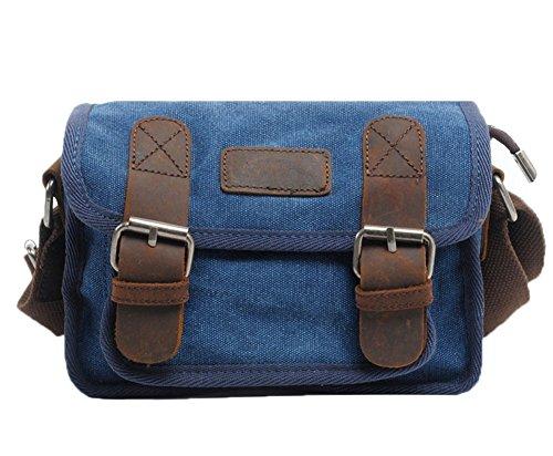 Genda 2Archer hombres Canves Bolsa de Hombro, Bolso del Mensajero (22cm * 10cm * 15cm) (gris) azul
