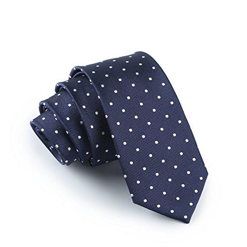 Elviros Men's Eco-friendly Fashion Polka Dot Slim Tie 2.4'' [6cm] Blue]()