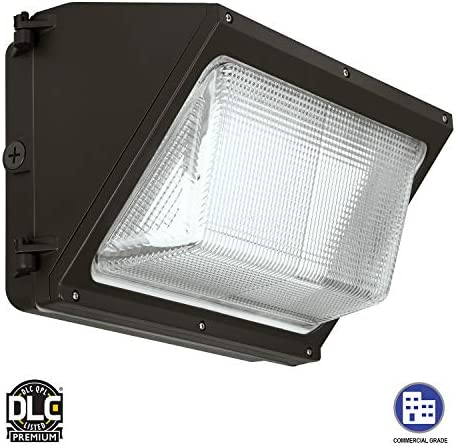 iBRIGHT 90W LED Wall Pack Lighting Fixture, Glass Refractor, 5000K, 10710lm, 1-10V Dimming, 100,000hr Life Waterproof Mounted 100-277VAC Outdoor Security Light DLC Premium ETL Certified