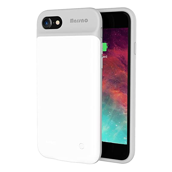 timeless design 6ecd0 f600b iPhone 7/8 Battery Case, Marsno 3000mAh Smart Charging Case Power Bank Case  Extended Battery Pack Charger Case for iPhone 7/8 (4.7 inch) White