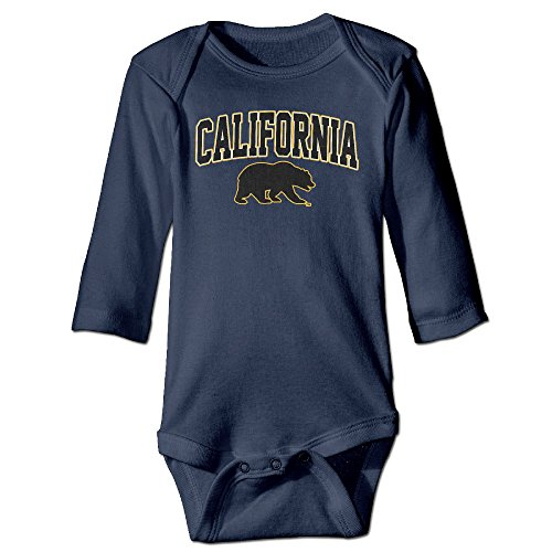(Kids Baby Cal Bears Arch Over Logo Long-sleeve Romper Jumpsuit Navy)