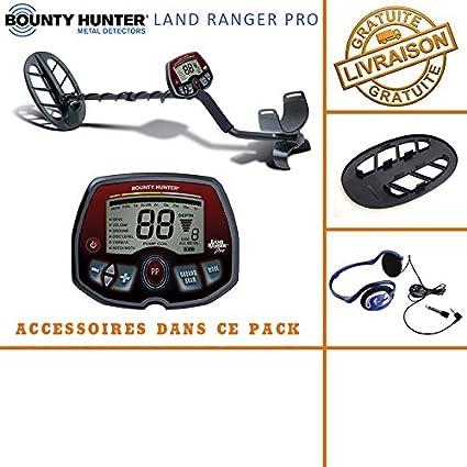 Bounty Hunter – Detector de Metales Land Ranger Pro con Protector de Disco y auriculares