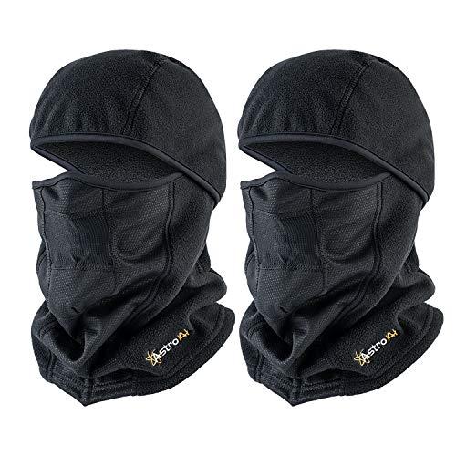 AstroAI Ski Mask Winter Balaclava Windproof Breathable Face Mask for Cold Weather 2 Pack (Superfine Polar Fleece, Black)