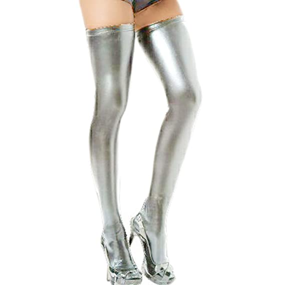 Sasairy Mujer Sexy pintura de piel sintética calcetines largos disfraz Femal de Fashion Modern Ropa Slim Clubwear Thigh High Stockings-Plata: Amazon.es: ...