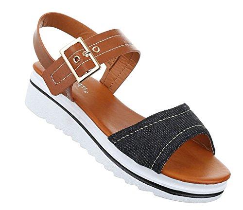 Damen Sandalen Schuhe Strandschuhe Sommerschuhe Riemchen Schwarz