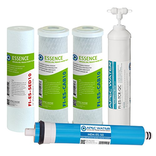 (APEC Water Systems FILTER-MAX-ES50 50 GPD High Capacity Complete Replacement Filter Set For Essence Series Reverse Osmosis Water Filter System Stage 1-5)