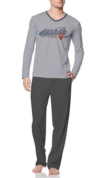 Larga Cálido afelpado Hombre Pijama V de recorte con gran Impresión sobre la parte superior,