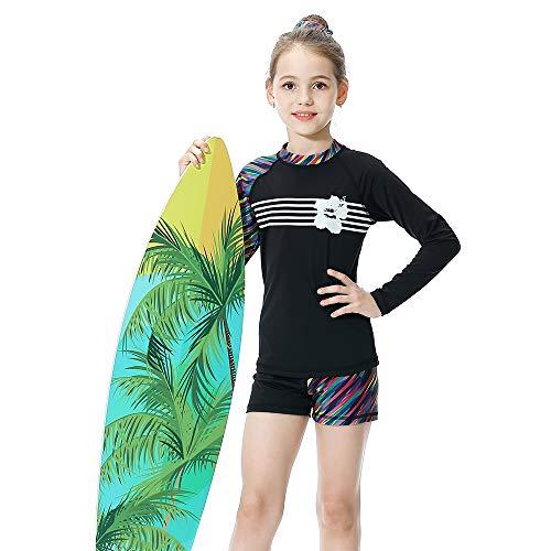 KID1234 Swimsuits for Girls - Long Sleeve Girls Swimsuits, Two Piece Swimsuits for Girls 5-12 Years (8) Black