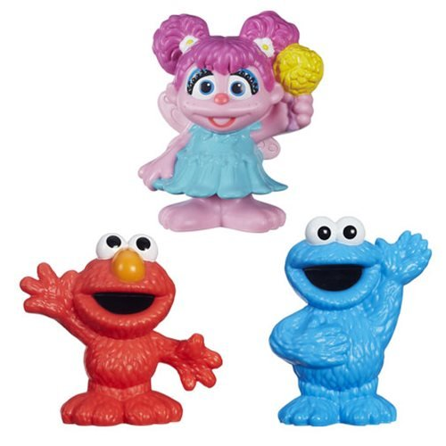 Set of 3: Sesame Street Mini-Figure Toys - Elmo, Cookie Monster & Abby - Abby Cadabby Mini