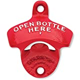 Red Open Bottle Here – Starr Powder Coated Wall Mount Bottle Opener For Sale