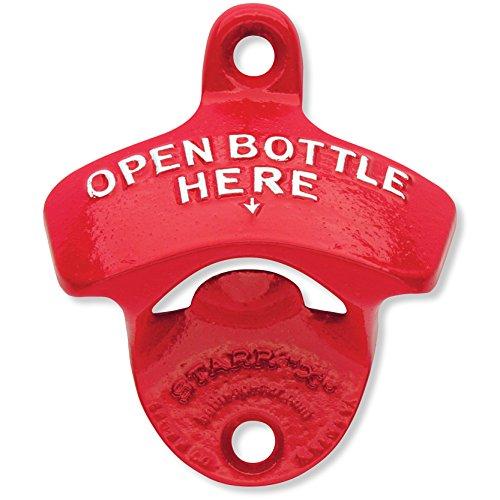 Red Open Bottle Here – Starr Powder Coated Wall Mount Bottle Opener For Sale