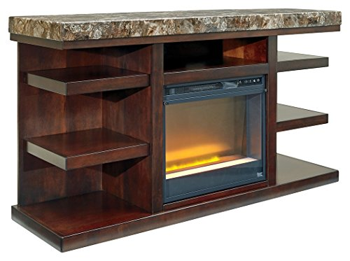 Ashley Furniture Signature Design - Kraleene TV Stand with Glass Fireplace Insert - Rustic Brown with Faux Marble - Cottage Glass Screen Fireplace