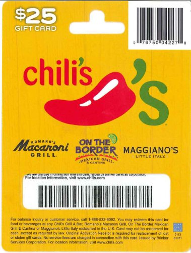 Amazon.com: Chili's Gift Card $25: Gift Cards