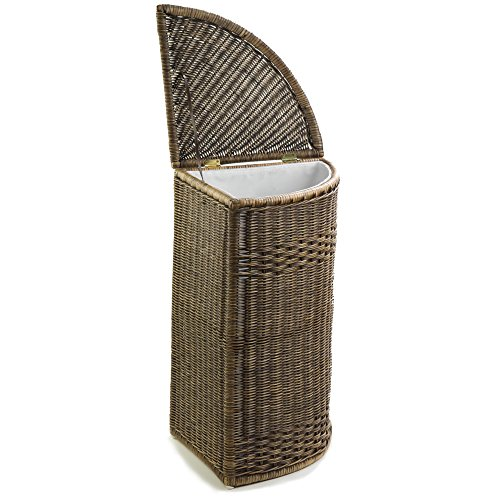 The Basket Lady Corner Wicker Laundry Hamper | Clothes Hamper, One Size, Antique Walnut Brown