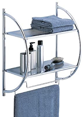 Organize It All 1753W-B Wall Mount 2 Tier Chrome Bathroom Shelf with Towel Bars Metallic
