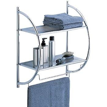 glass chrome ideas for towel shelf double with bathroom shelves wall bar decorative