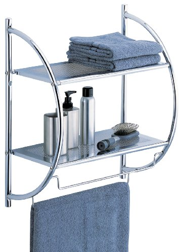 Organize It All 1753W-B Wall Mount 2 Tier Chrome Bathroom Shelf with Towel Bars Metallic (Wall Bathroom Shelf)