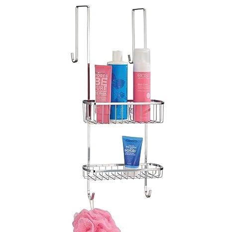 mDesign Estantería de ducha para colgar sobre la mampara – Práctico colgador para ducha de acero resistente sin taladro – Cestas metálicas con ...