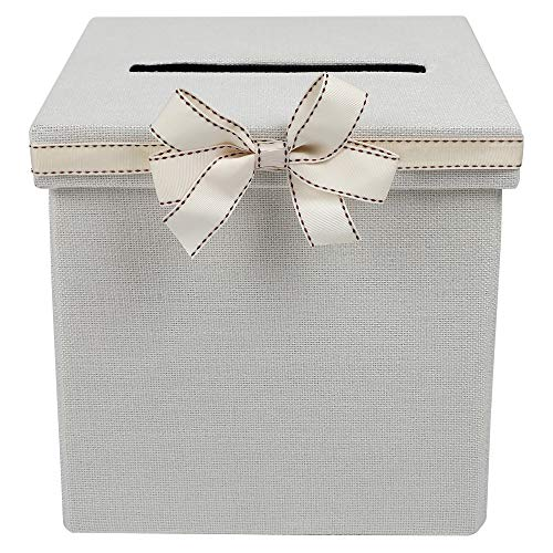FLUYTCO Wedding Card Envelope Box - Linen Fabric & Removable Ribbon Bow - Collapsible - Perfect for Weddings, Baby Showers, Birthdays, Graduations - Large Size, 100+ Cards ()
