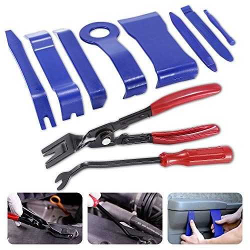 GLISTON 10pcs Car Trim Removal Pry Tools, Auto Clip Removal Kit, Door Panel Remover Tool Set for Trimming Vehicle Audio/Radio, Door Panel, Window, Interior Accessories by GLISTON (Image #8)