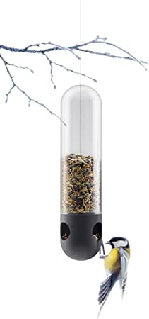 Eva Solo Hanging Glass Bird Seed Feeder Station Designer Outdoor Clear Hand Made