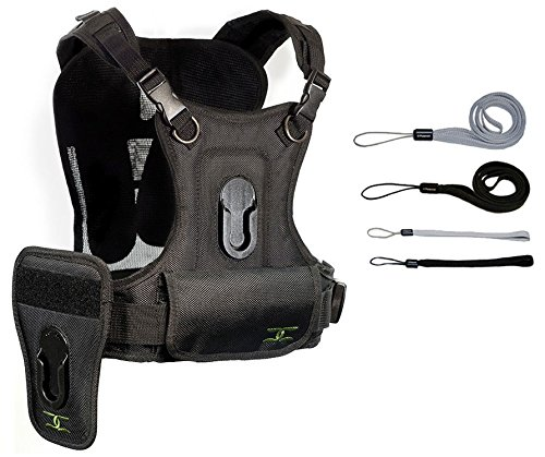 Cotton Carrier Professional Multi Camera Carrying Vest with Side Holster for 1 or 2 D-SLR Camera's - Eliminates Shoulder and Neck Strain and Swinging Cameras + FREE Hand Strap … by Cotton Carrier