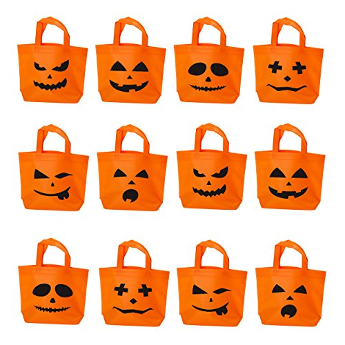 Halloween Trick or Treat Candy Tote Bags | Pumpkin Face Jack O Lantern Kids Goodie Handy Bag with Handle, for Costume, Sweets, Decorations, Party Favors - Set of 12 -