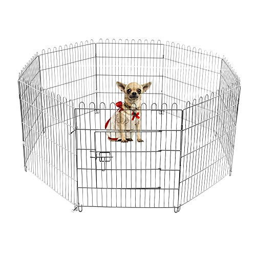 (LEMKA Foldable Pet Dog Playpen Kennel Fence,Indoor & Outdoor Pet Kennel Exercise Silver Galvanized Cage [Never Paint Off] 8 Panel(24-inch,)