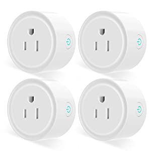Mini Smart Plug Outlet, Aoycocr Wifi Socket Compatible with Alexa, Google Home and IFTTT, Remote Control, No Hub Required, with Timer Function(4-Pack)