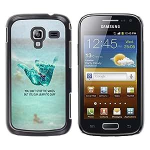TopCaseStore / la caja del caucho duro de la cubierta de protección de la piel - Sign Surf Dude Beach Text - Samsung Galaxy Ace 2 I8160 Ace II X S7560M